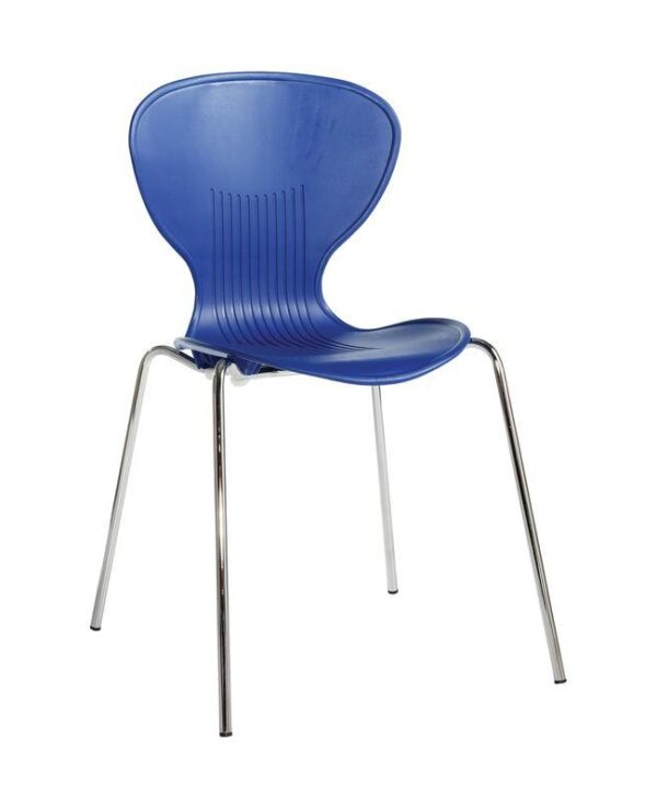 Sienna one piece shell chair with chrome legs (pack of 4) - blue - Furniture
