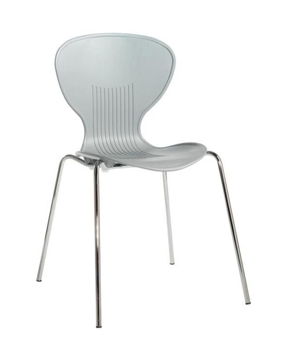 Sienna one piece shell chair with chrome legs (pack of 4) - grey - Furniture