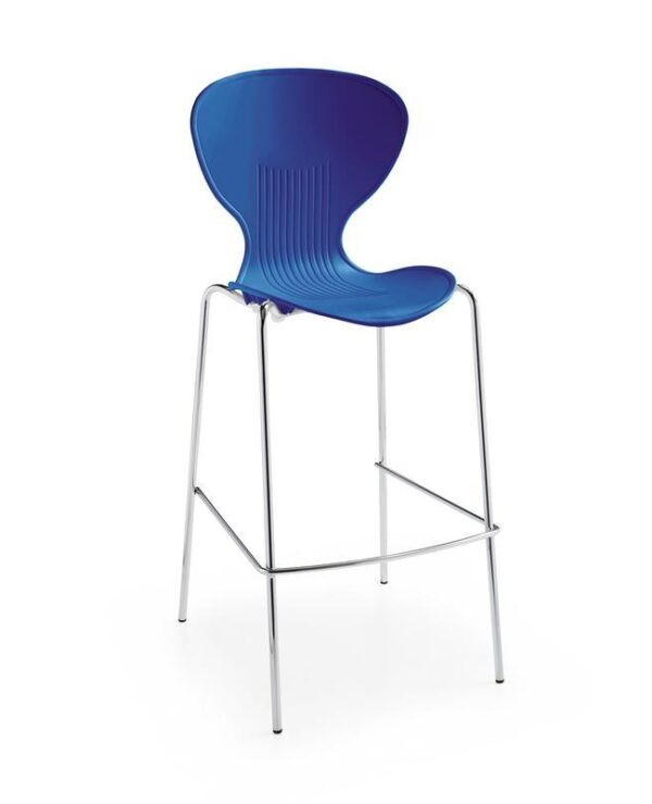 Sienna one piece stool with chrome legs (pack of 2) - blue - Furniture