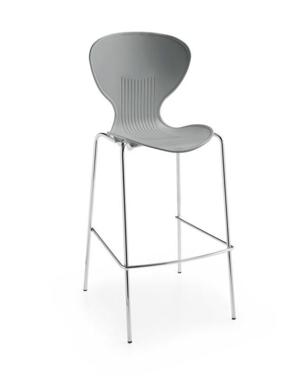 Sienna one piece stool with chrome legs (pack of 2) - grey - Furniture