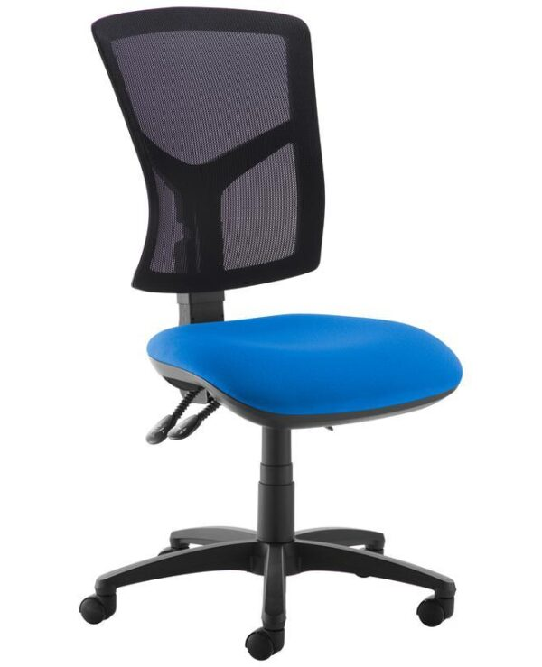 Senza high mesh back operator chair with no arms - blue - Furniture
