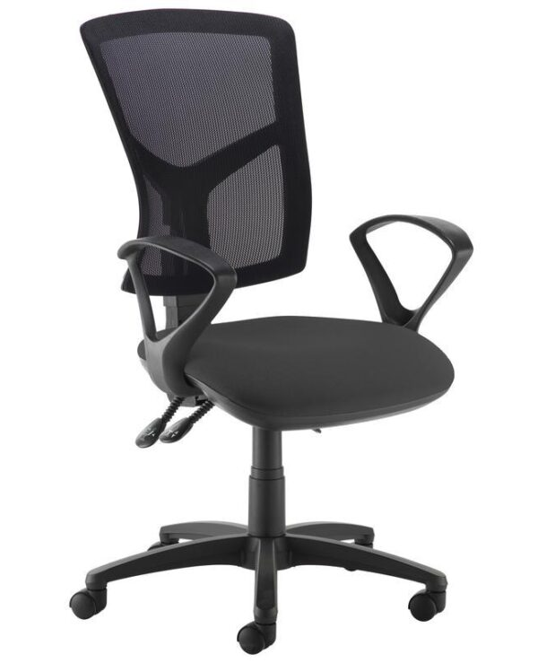 Senza high mesh back operator chair with fixed arms - black - Furniture