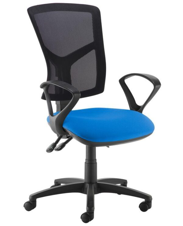 Senza high mesh back operator chair with fixed arms - blue - Furniture