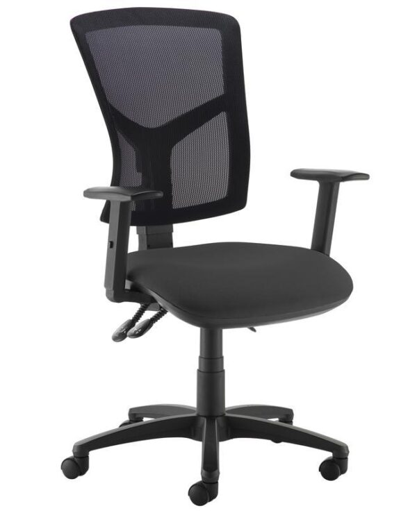 Senza high mesh back operator chair with adjustable arms - black - Furniture