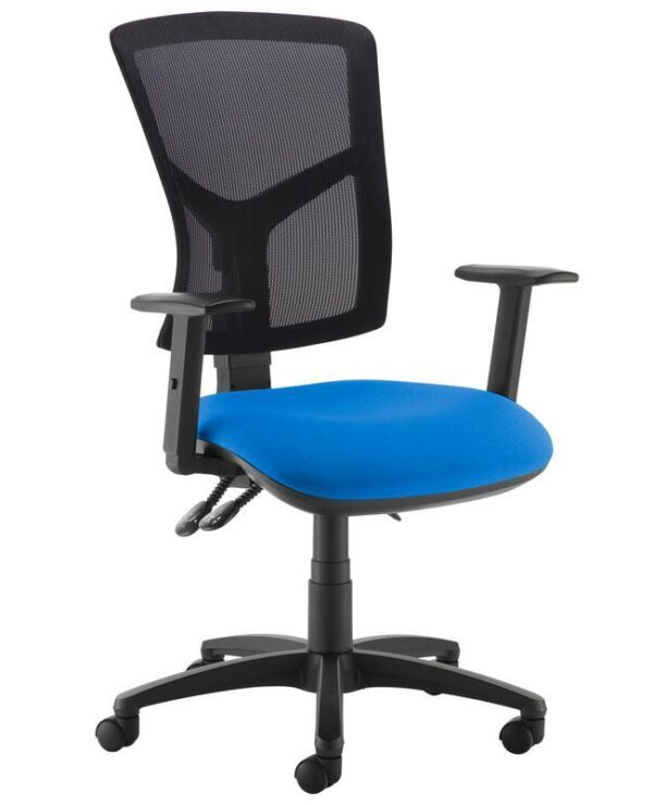 Senza high mesh back operator chair with adjustable arms - blue - Furniture