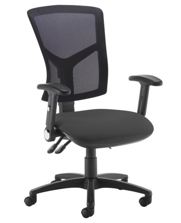 Senza high mesh back operator chair with folding arms - black - Furniture