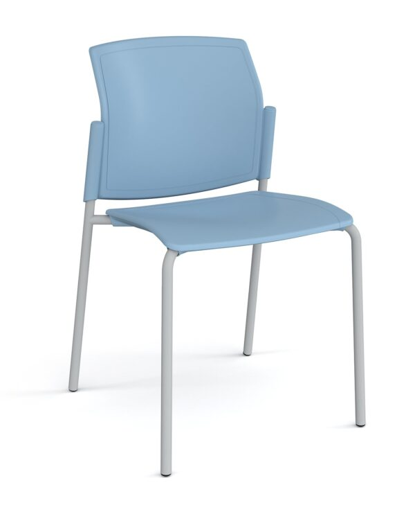 Santana 4 leg stacking chair with plastic seat and back, chrome frame and no arms - blue - Furniture