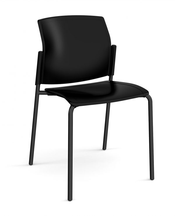 Santana 4 leg stacking chair with plastic seat and back, black frame and no arms - made to order - Furniture