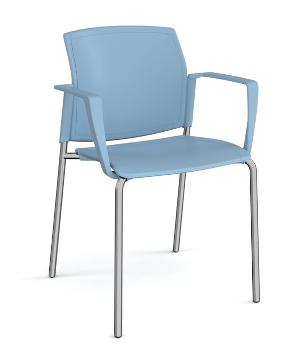 Santana 4 leg stacking chair with plastic seat and back, chrome frame and fixed arms - blue - Furniture
