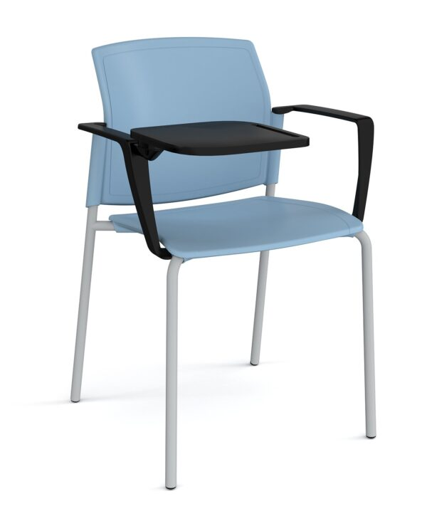 Santana 4 leg stacking chair with plastic seat and back, chrome frame with arms and writing tablet - blue - Furniture
