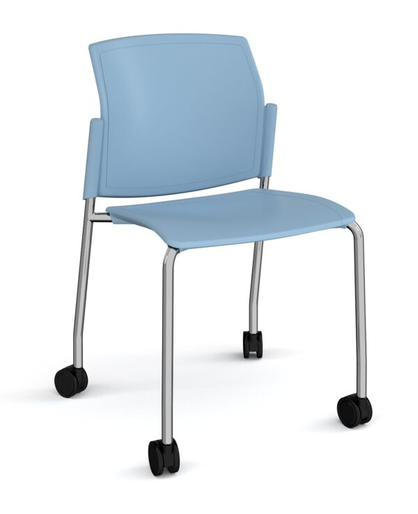 Santana 4 leg mobile chair with plastic seat and back, chrome frame with castors and no arms - blue - Furniture