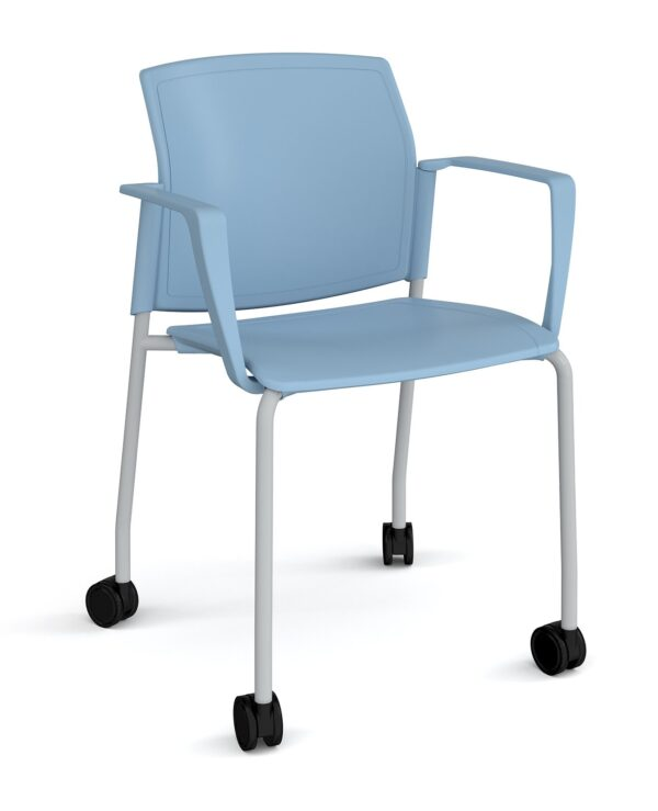 Santana 4 leg mobile chair with plastic seat and back, chrome frame with castors and fixed arms - blue - Furniture