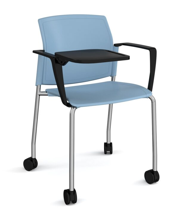 Santana 4 leg mobile chair with plastic seat and back, chrome frame with castors, arms and writing tablet - blue - Furniture