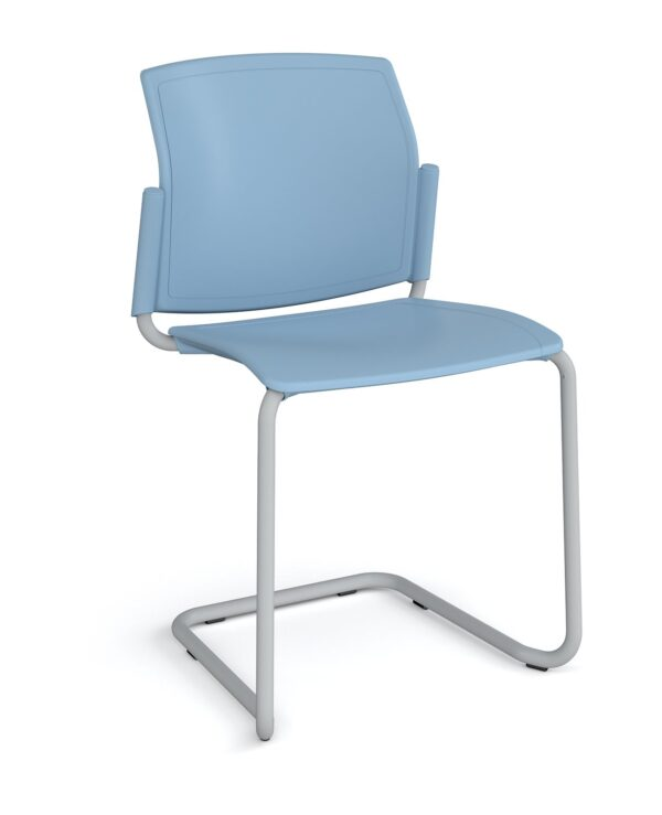 Santana cantilever chair with plastic seat and back, chrome frame and no arms - blue - Furniture
