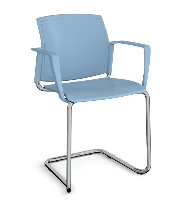 Santana cantilever chair with plastic seat and back, chrome frame and fixed arms - blue - Furniture