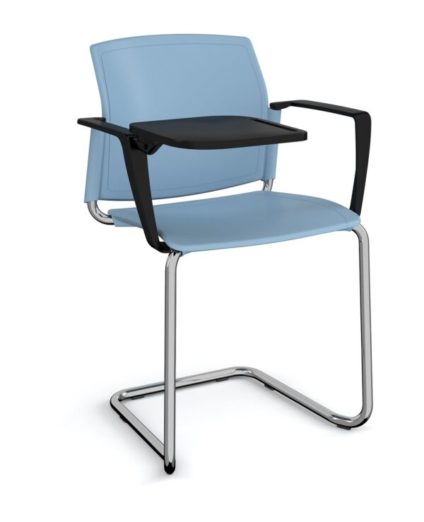Santana cantilever chair with plastic seat and back, chrome frame with arms and writing tablet - blue - Furniture