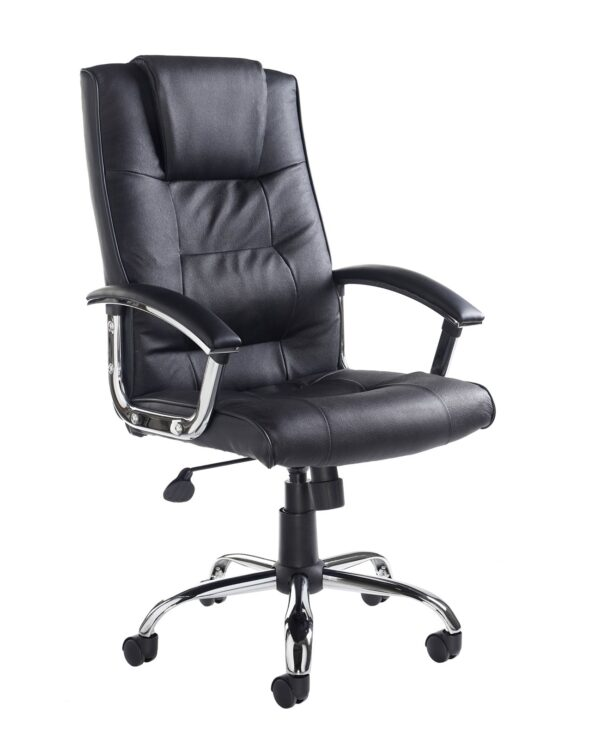 Somerset high back managers chair - black leather faced - Furniture