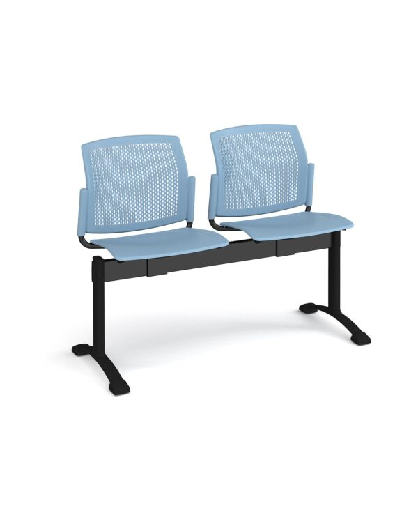 Santana perforated back plastic seating - bench 2 wide with 2 seats - blue - Furniture