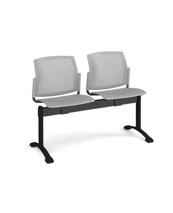 Santana perforated back plastic seating - bench 2 wide with 2 seats - grey - Furniture