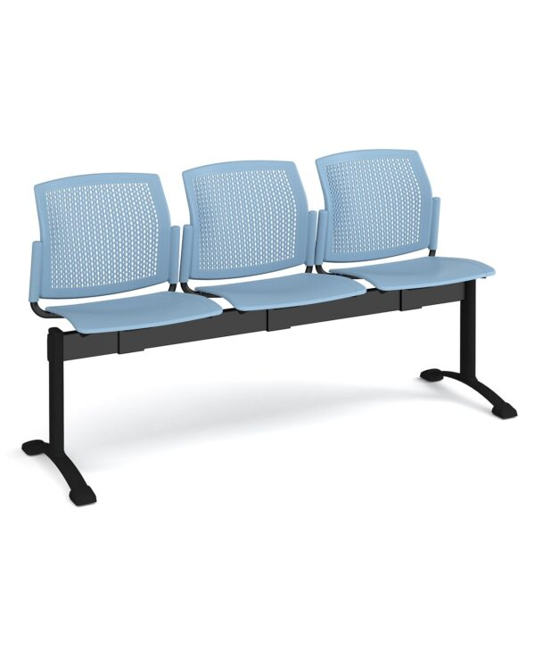 Santana perforated back plastic seating - bench 3 wide with 3 seats - blue - Furniture
