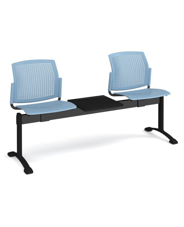 Santana perforated back plastic seating - bench 3 wide with 2 seats and table - blue - Furniture