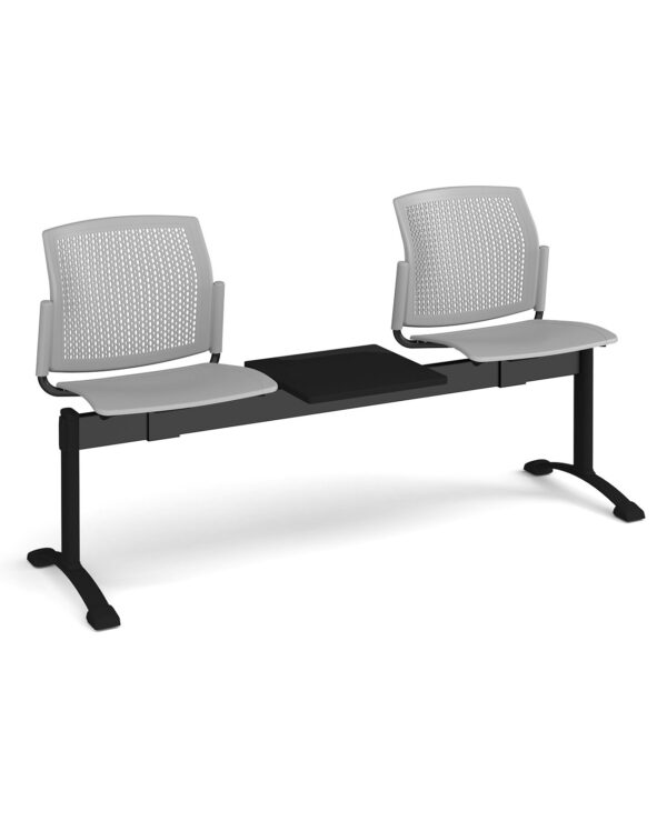 Santana perforated back plastic seating - bench 3 wide with 2 seats and table - grey - Furniture