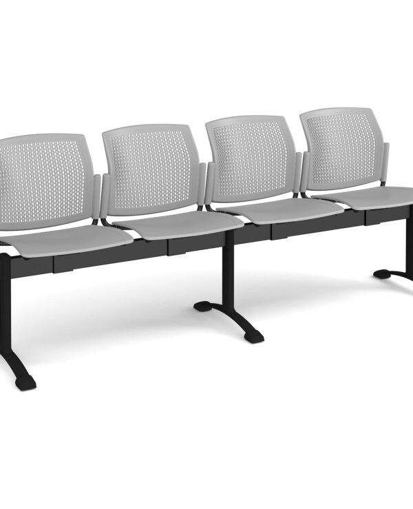 Santana perforated back plastic seating - bench 4 wide with 4 seats - grey - Furniture