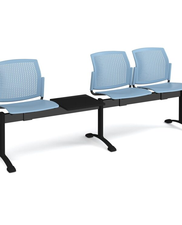 Santana perforated back plastic seating - bench 4 wide with 3 seats and table - blue - Furniture