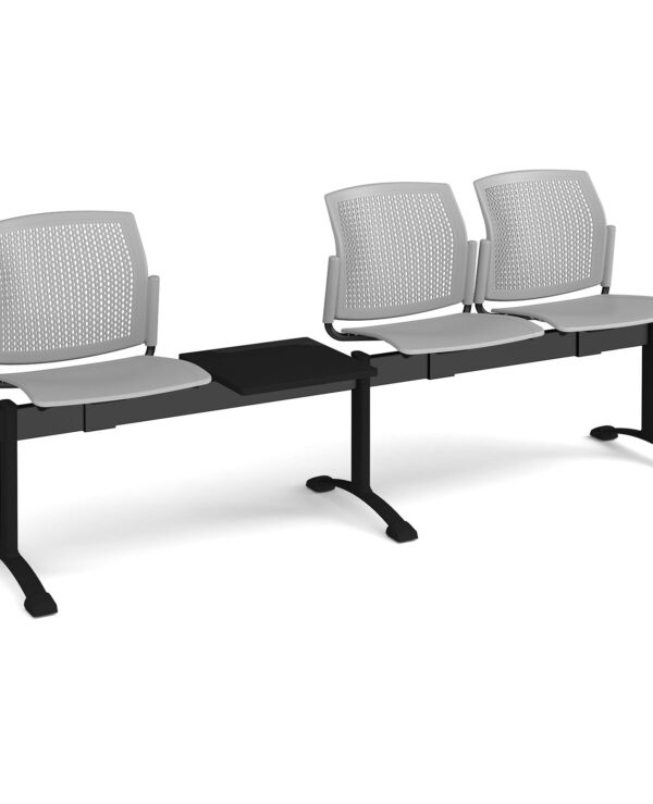 Santana perforated back plastic seating - bench 4 wide with 3 seats and table - grey - Furniture
