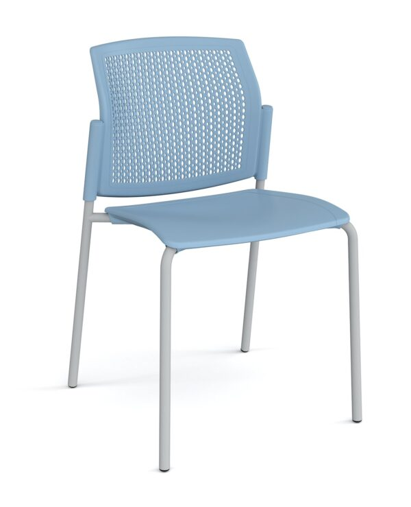 Santana 4 leg stacking chair with plastic seat and perforated back, chrome frame and no arms - blue - Furniture