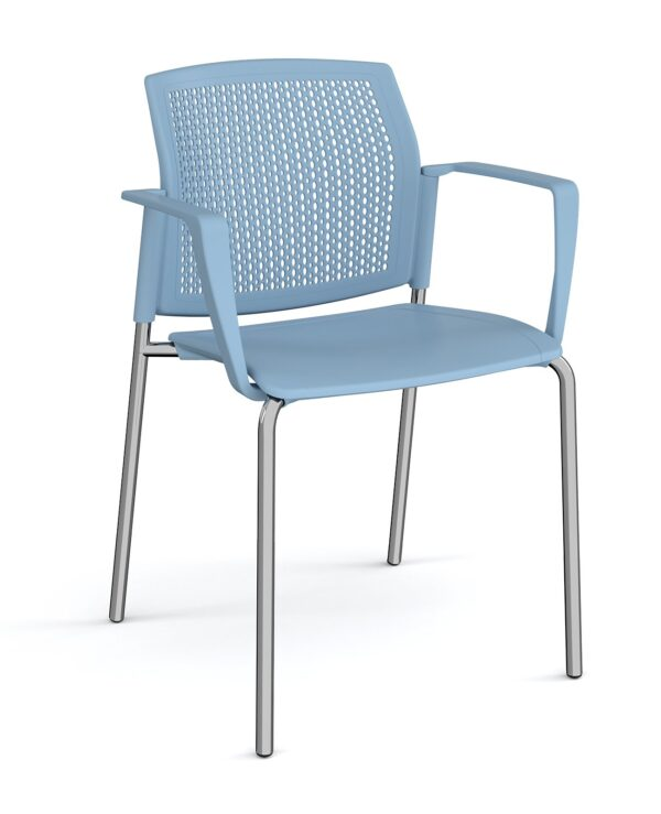 Santana 4 leg stacking chair with plastic seat and perforated back, chrome frame and fixed arms - blue - Furniture