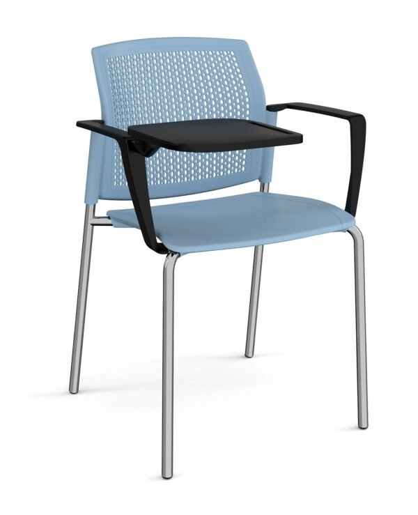 Santana 4 leg stacking chair with plastic seat and perforated back, chrome frame with arms and writing tablet - blue - Fur...