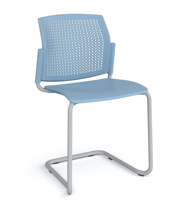 Santana cantilever chair with plastic seat and perforated back, chrome frame and no arms - blue - Furniture