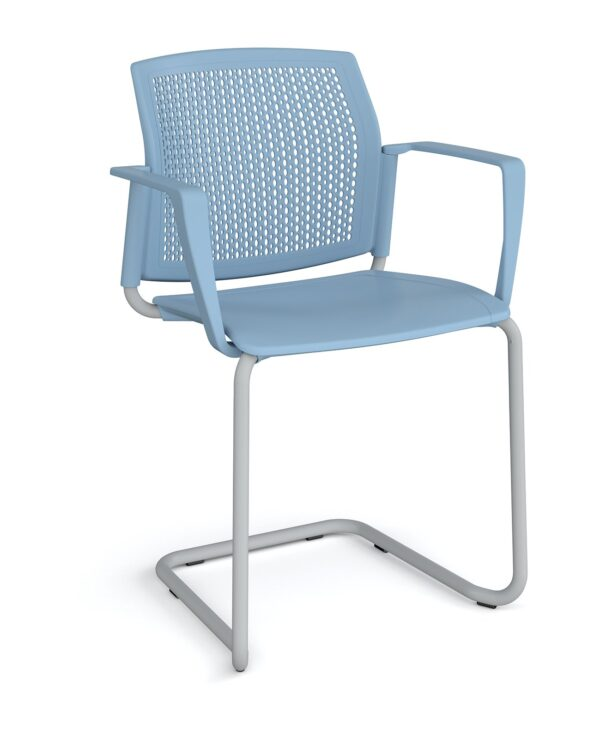 Santana cantilever chair with plastic seat and perforated back, chrome frame and fixed arms - blue - Furniture