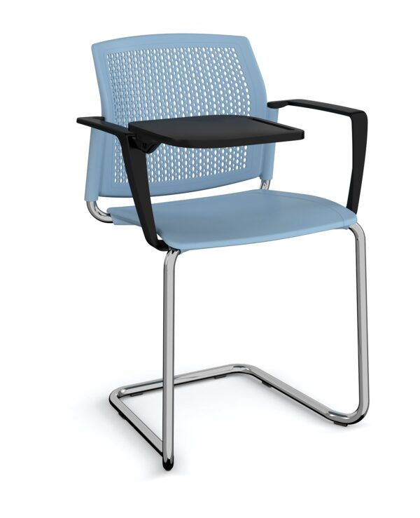 Santana cantilever chair with plastic seat and perforated back, chrome frame with arms and writing tablet - blue - Furniture