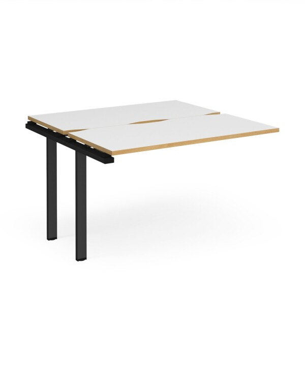 Adapt sliding top add on unit single 1200mm x 1200mm - black frame, white top with oak edging - Furniture