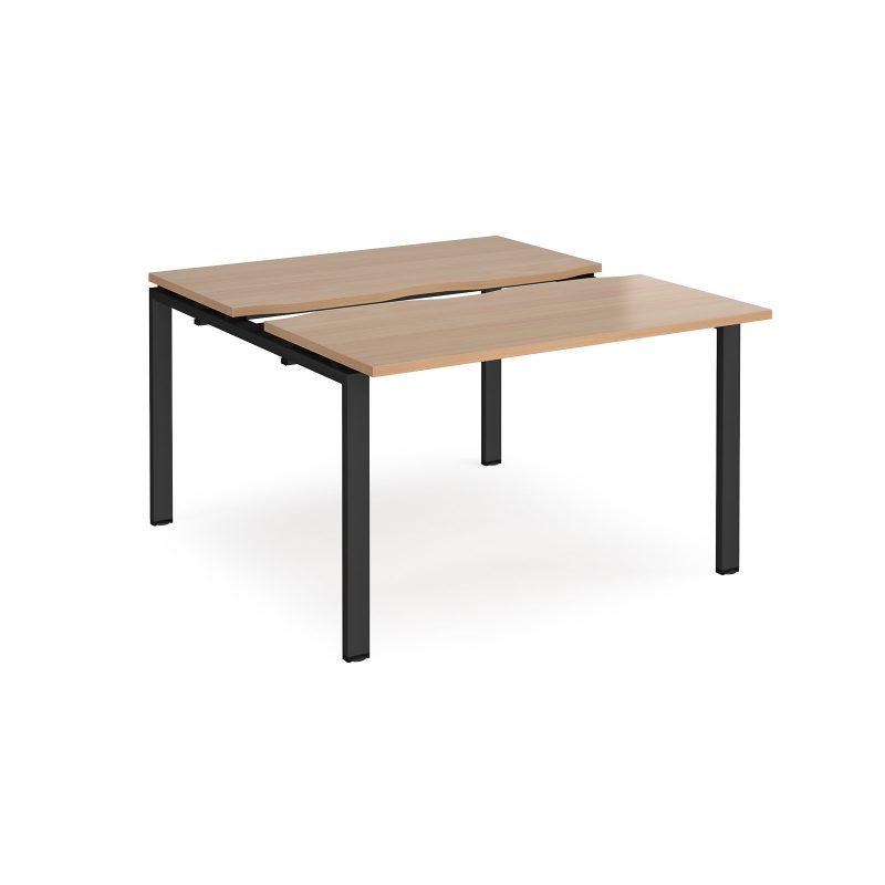 Adapt sliding top back to back desks 1200mm x 1200mm - black frame, beech top - Furniture
