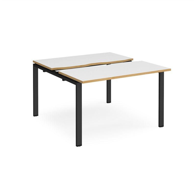 Adapt sliding top back to back desks 1200mm x 1200mm - black frame, white top with oak edging - Furniture