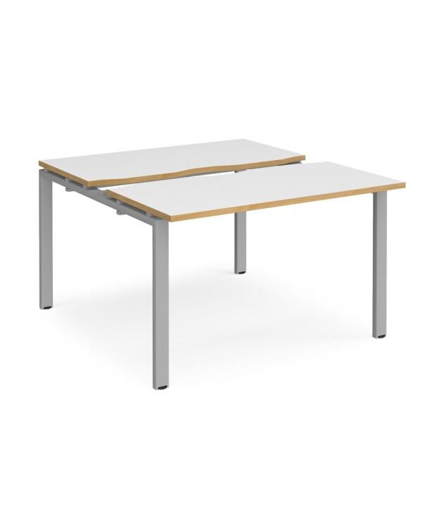 Adapt sliding top starter units back to back 1200mm x 1200mm - black frame, white top with oak edging - Furniture