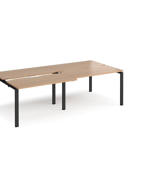 Adapt sliding top double back to back desks 2400mm x 1200mm - black frame, beech top - Furniture
