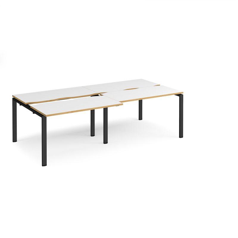 Adapt sliding top double back to back desks 2400mm x 1200mm - black frame, white top with oak edging - Furniture