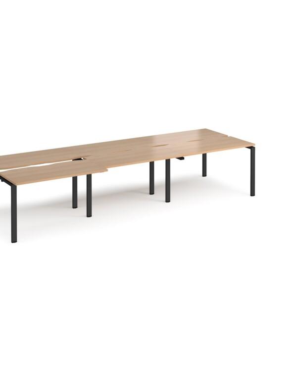 Adapt sliding top triple back to back desks 3600mm x 1200mm - black frame, beech top - Furniture