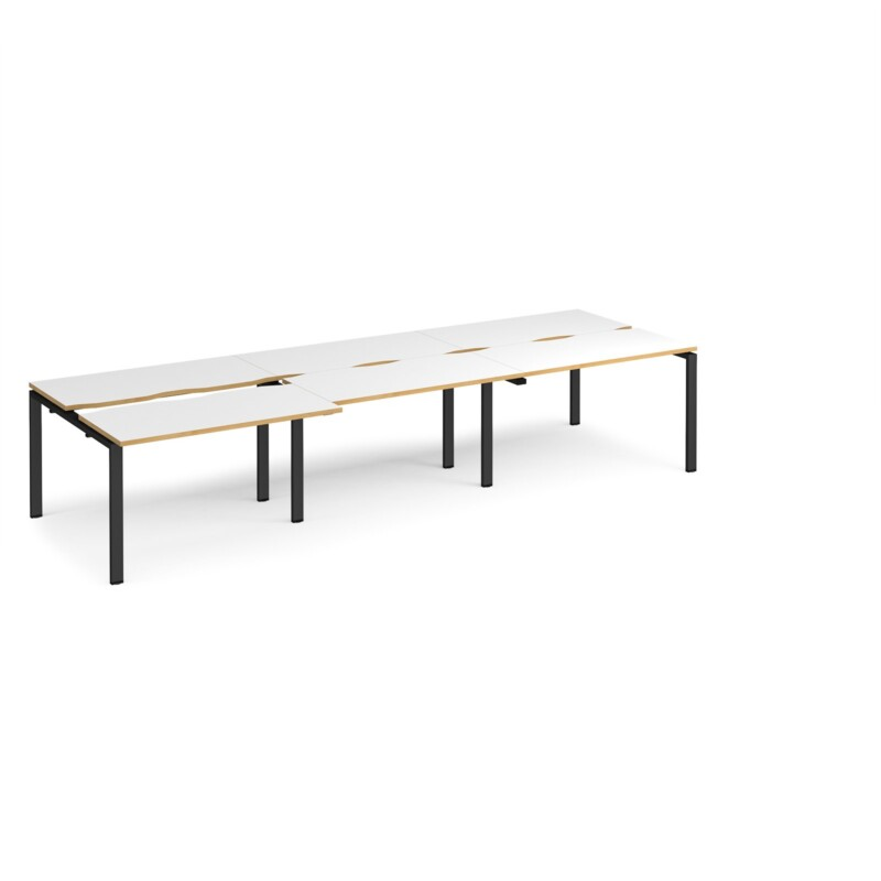 Adapt sliding top triple back to back desks 3600mm x 1200mm - black frame, white top with oak edging - Furniture