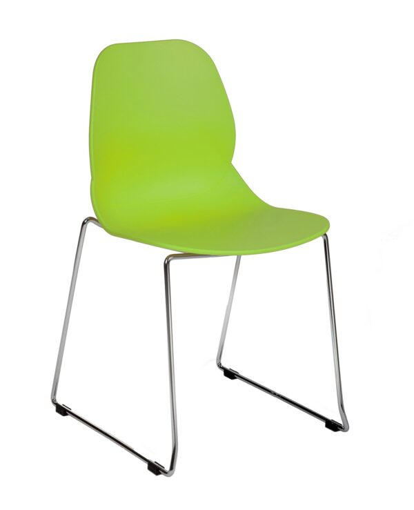 Strut multi-purpose chair with chrome sled frame - lime green - Furniture