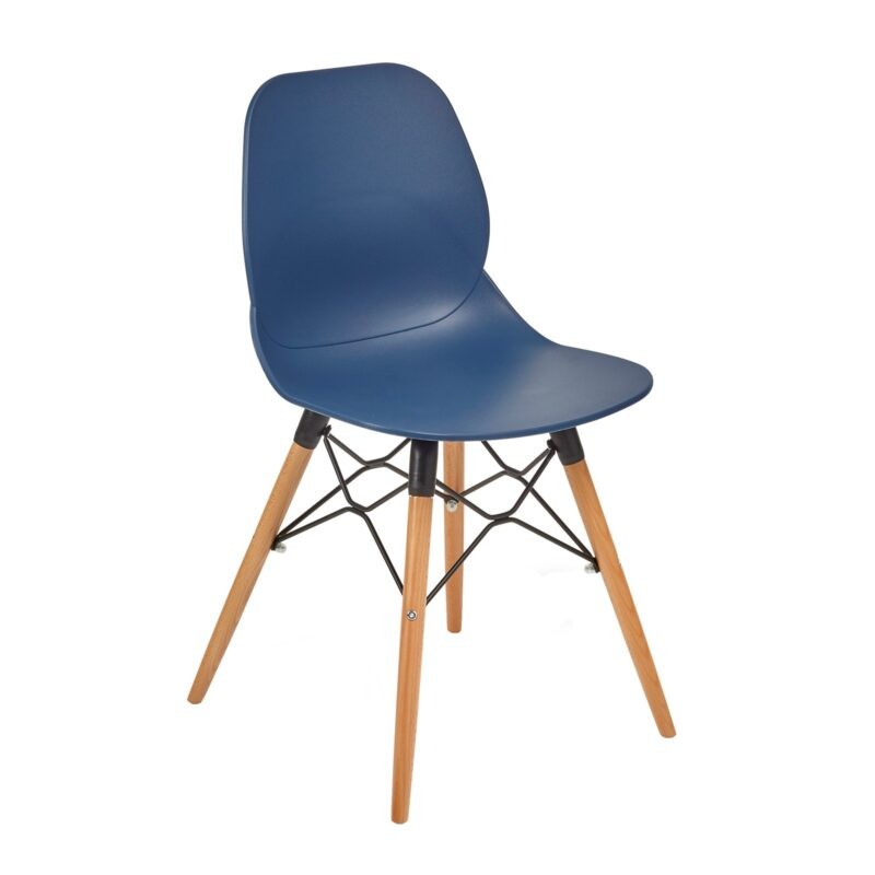 Strut multi-purpose chair with natural oak 4 leg frame and black steel detail - navy blue - Furniture