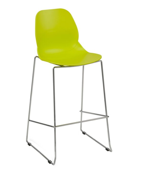 Strut multi-purpose stool with chrome sled frame - lime green - Furniture