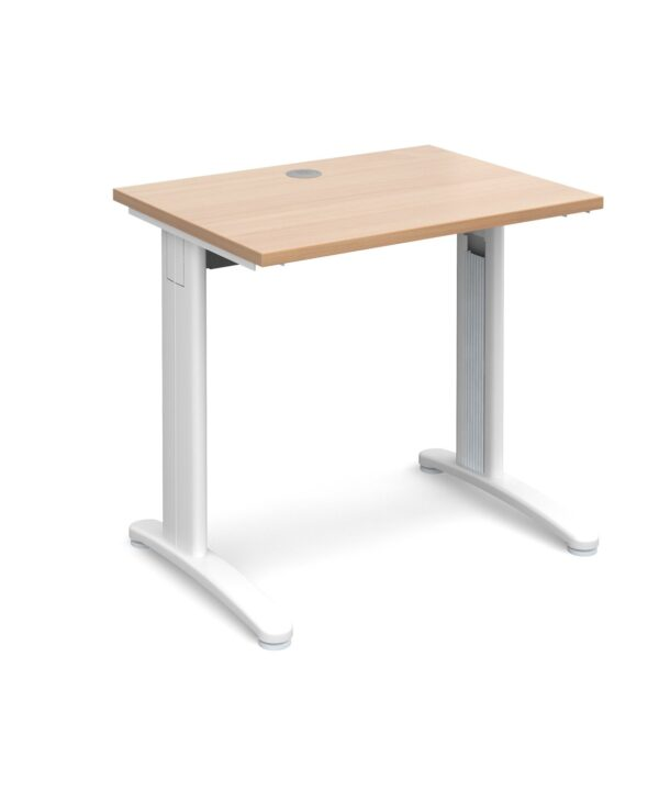 TR10 straight desk 800mm x 600mm - silver frame, beech top - Furniture