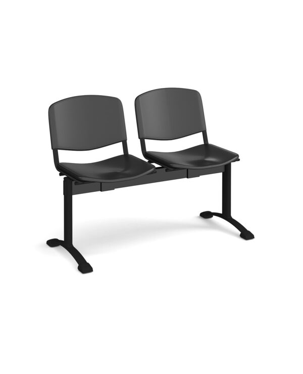 Taurus plastic seating - bench 2 wide with 2 seats - black - Furniture