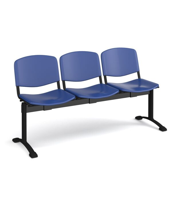 Taurus plastic seating - bench 3 wide with 3 seats - blue - Furniture