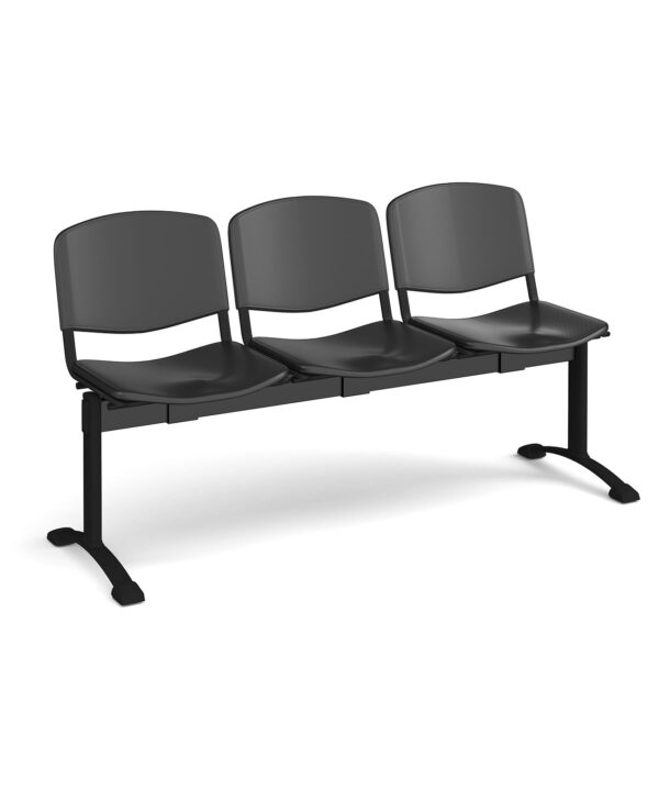 Taurus plastic seating - bench 3 wide with 3 seats - black - Furniture